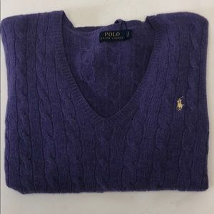 Polo Ralph Lauren V Neck Swetear Purple L New